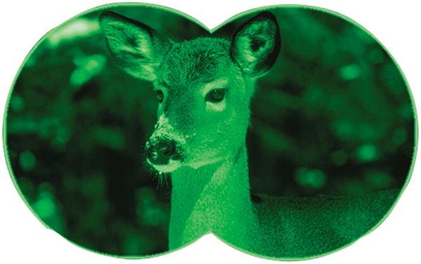 双眼鏡型ナイトビジョン ビノキュラーEVE 双眼鏡と暗視鏡がドッキング 闇夜に現われる決定的瞬間を逃さない携帯型ビノキュラー。 両眼とも独立フォーカス調整ができ、目標物をより捕らえやすく設計されている。 ブッシュネルならではの明るい光学システムが活かされた堅牢な双眼鏡