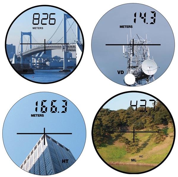 垂直距離(傾斜距離)表示 : SD トゥルーパルスから目標物までの直線距離  垂直距離表示 : VD トゥルーパルスから目標物までの垂直距離  目標物の高さ表示 : HT 目標物上の2点間の高さ  傾斜角度表示 : MLとINC 斜面の垂直2点間の角度