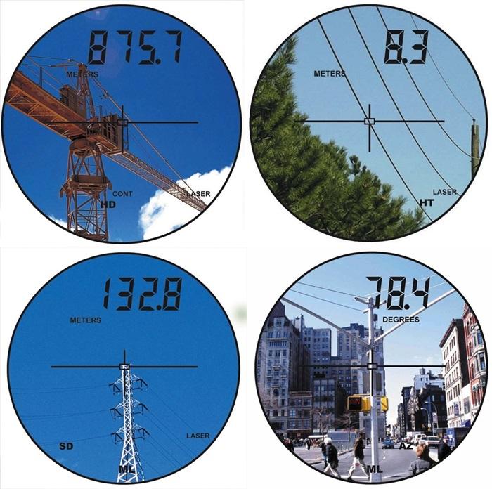 水平距離表示 : HD 目標物までの水平距離が875mであることを示しています。 目標物の高さ表示 : HT 目標物の高さが8.3mであることを示しています。 間隔直線距離表示 : MLとSD 指定した点との間が132.8m離れています。 間隔ライン方位角表示 : MLとAZ 指定した2点を結ぶラインが、北より78.4°の方向へ向いています。