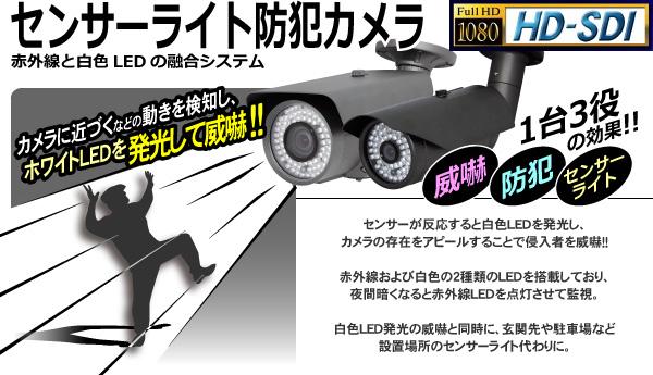 カメラに近づくなどの動きを検知しホワイトLEDを発光して威嚇 赤外線LEDとホワイトLEDを搭載し、暗くなると赤外線LEDを点灯させて監視します。WTW-HSL49